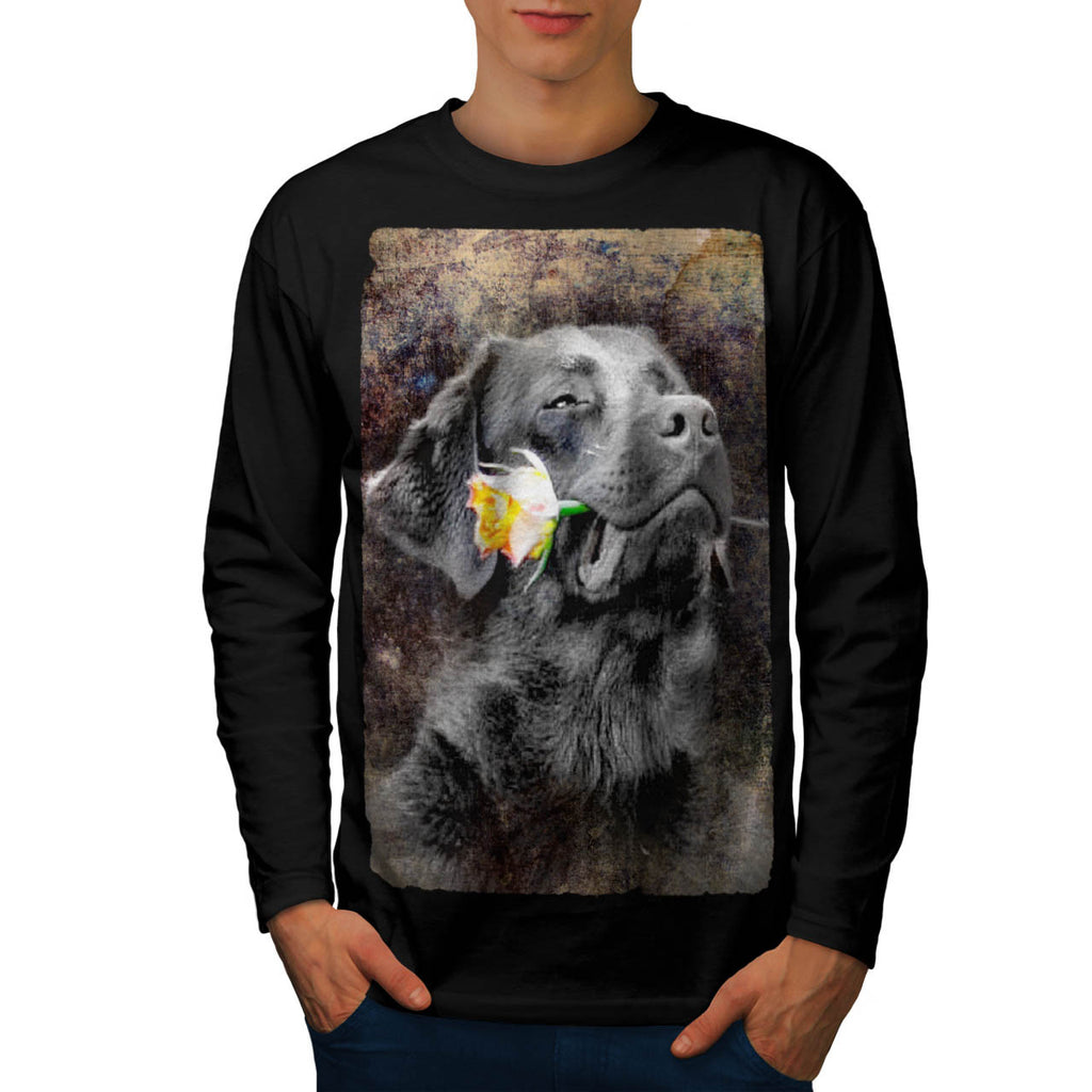 Happy Dog Flower Mens Long Sleeve T-Shirt