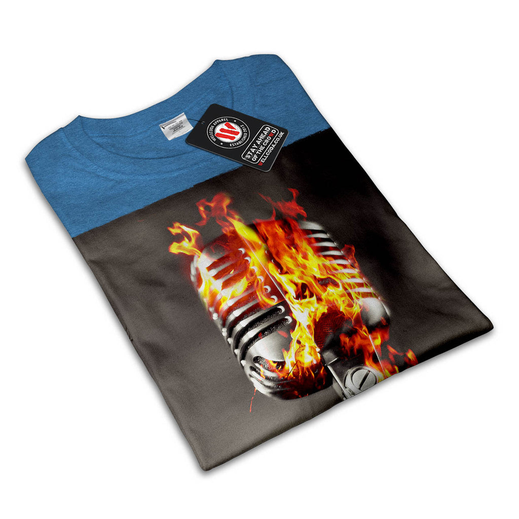Microphone Fire Burn Womens T-Shirt