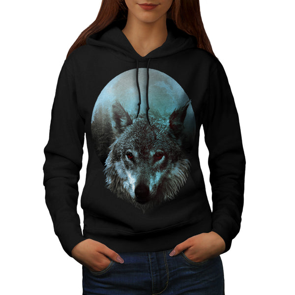 Wolf Moon Light Hunt Womens Hoodie