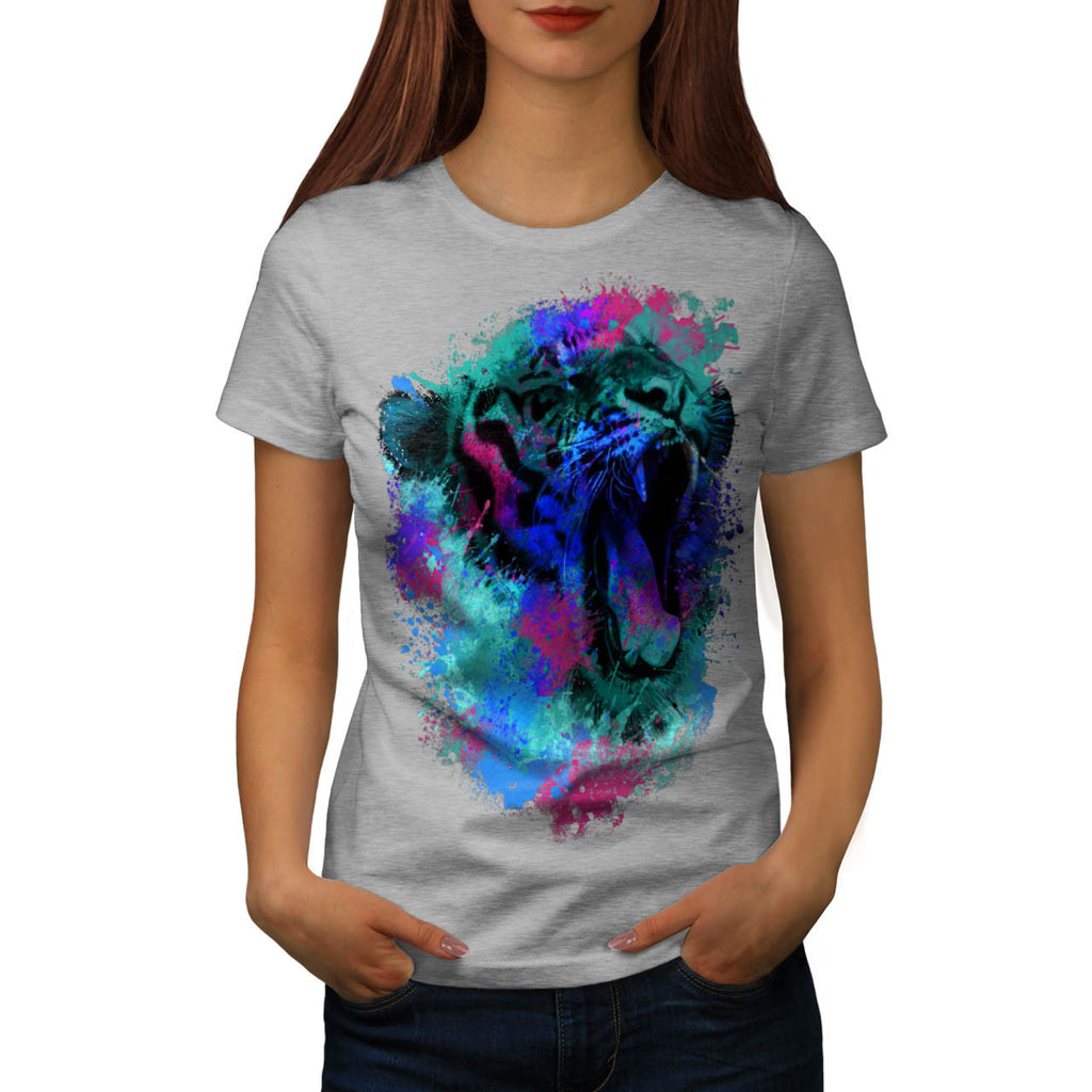 Screaming Tiger Face Womens T-Shirt