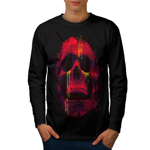 Skull Head Blood Art Mens Long Sleeve T-Shirt