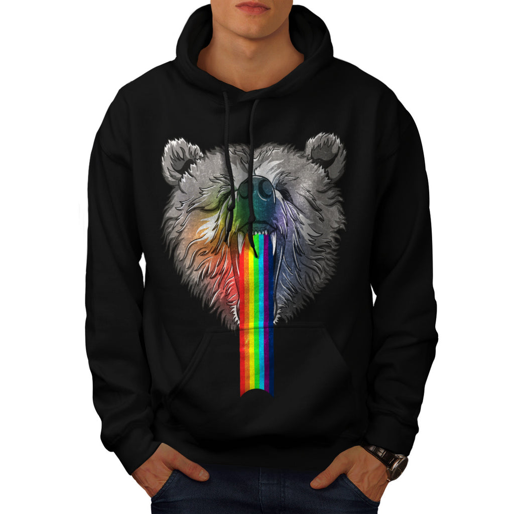 Rainbow Bear Head Mens Hoodie