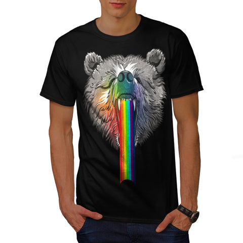 Rainbow Bear Head Mens T-Shirt
