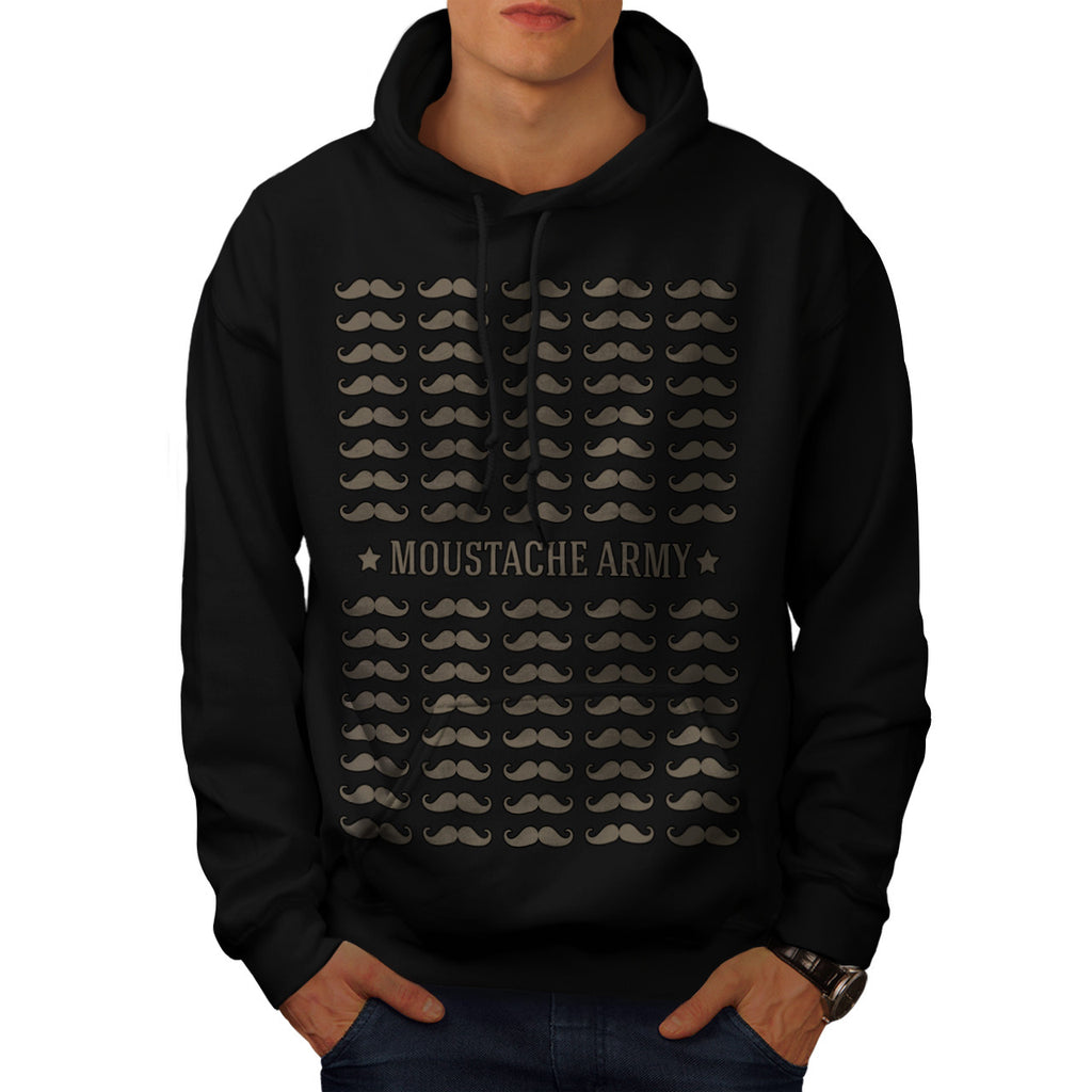 Moustache Army Style Mens Hoodie