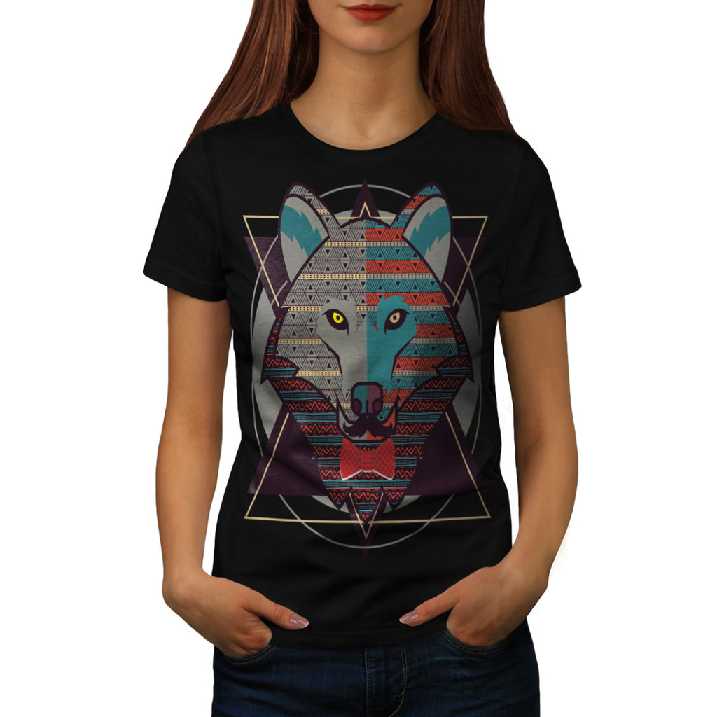 Hipster Wolf Head Womens T-Shirt