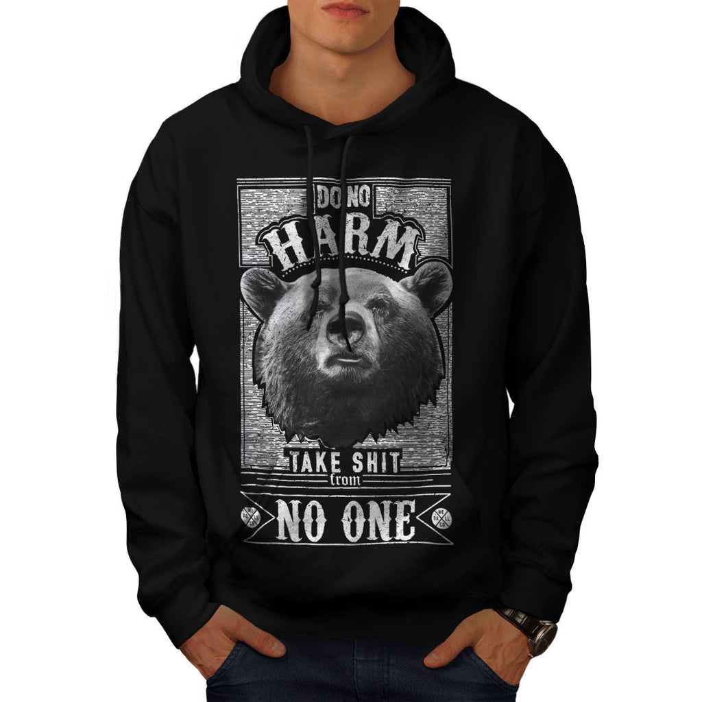No Harm Grizzly Bear Mens Hoodie