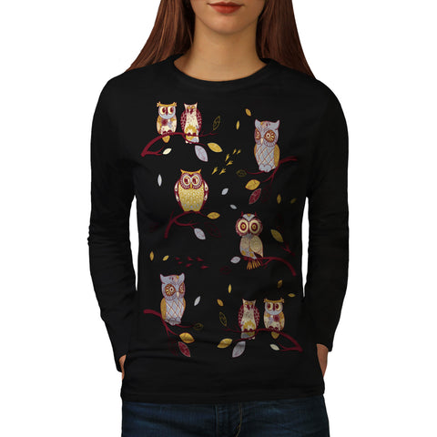 Crazy Owl Branch Womens Long Sleeve T-Shirt