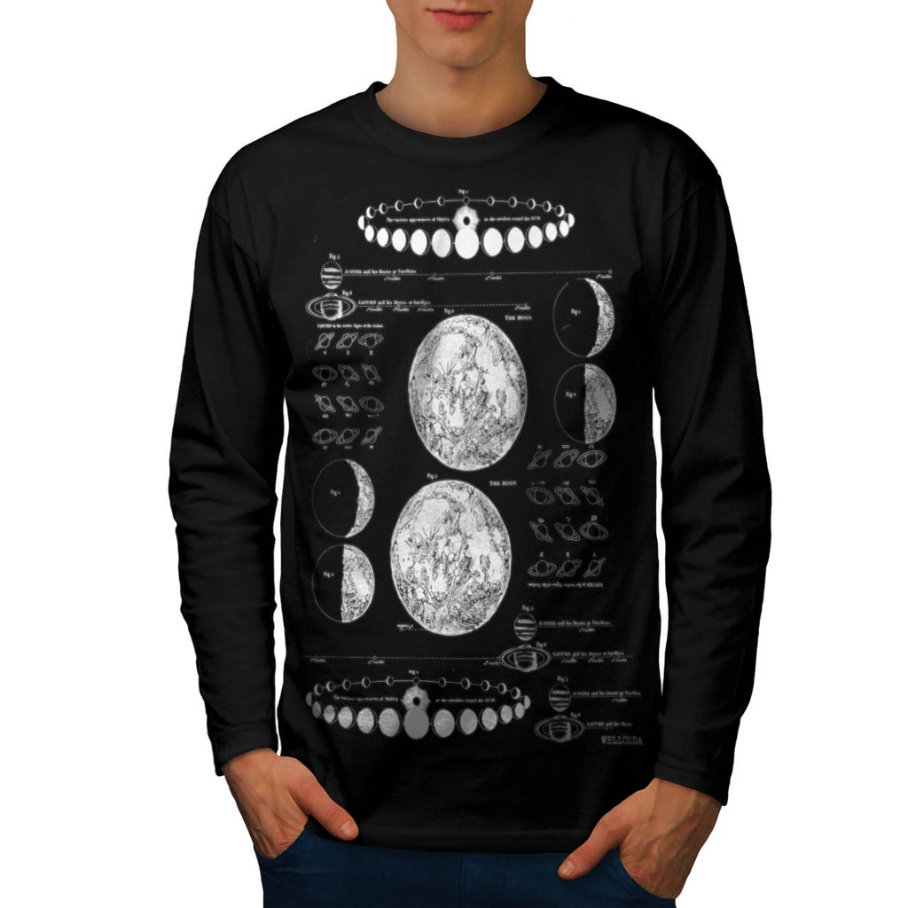 Stages of The Moon Mens Long Sleeve T-Shirt