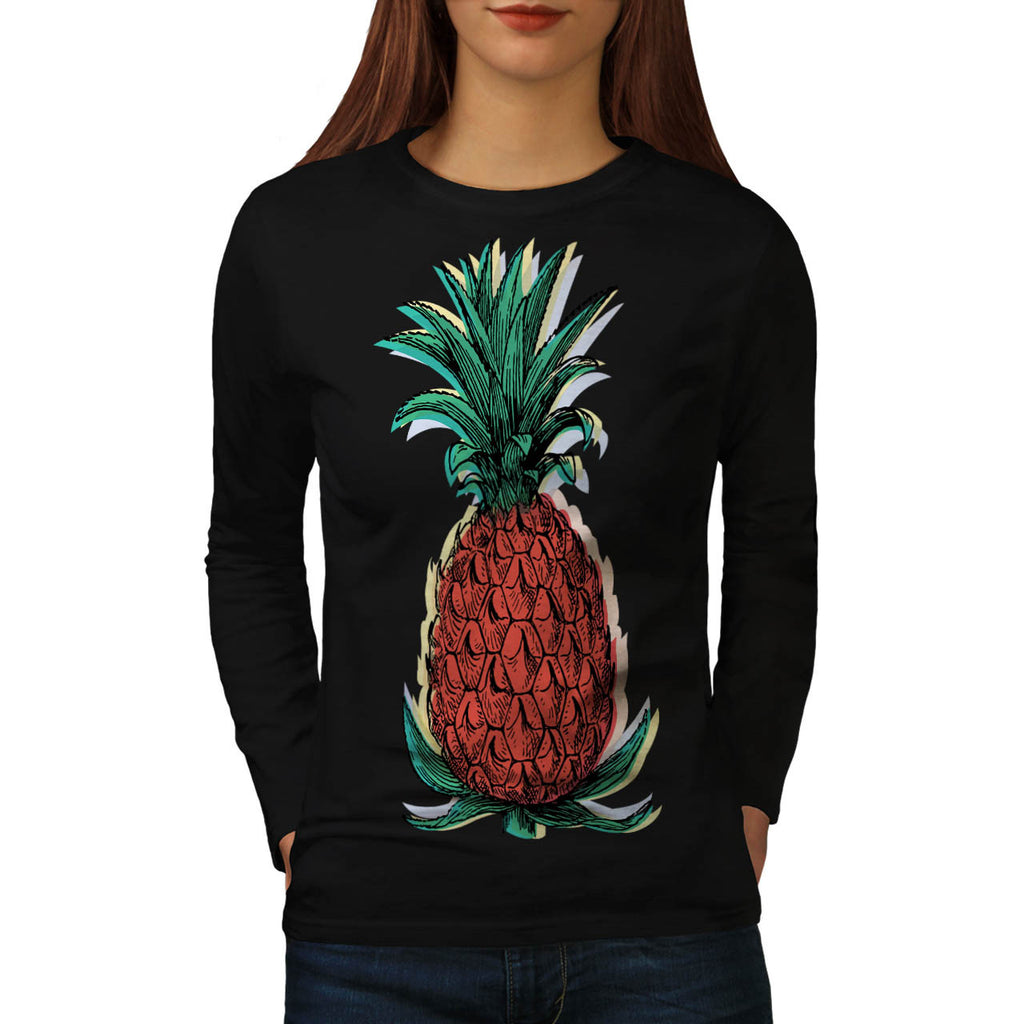 Tropical Pineapple Womens Long Sleeve T-Shirt