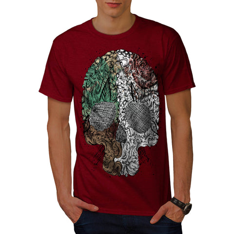 Artsy Skull Head Mens T-Shirt