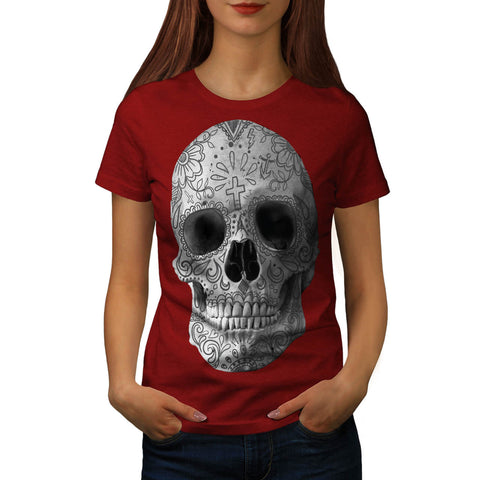 Skull Head Flower Art Womens T-Shirt