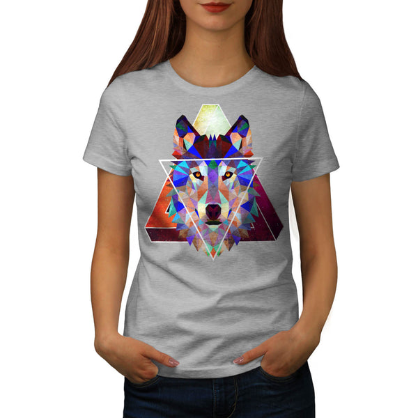 Wolf Head Triangle Womens T-Shirt