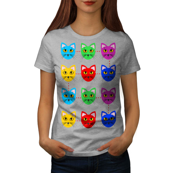 Multiple Cat Face Womens T-Shirt