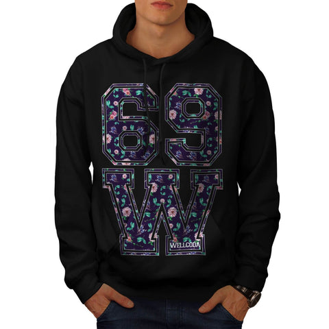 69 W Flower Bloom Mens Hoodie