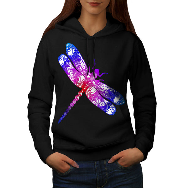 Colorful Dragon Fly Womens Hoodie