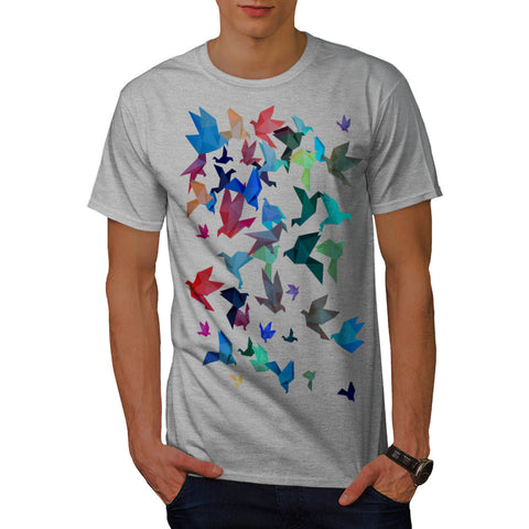 Origami Bird Art Mens T-Shirt