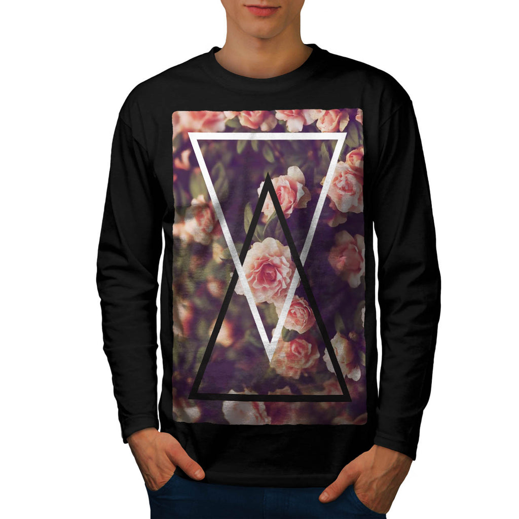 Romantic Rose Triangle Mens Long Sleeve T-Shirt