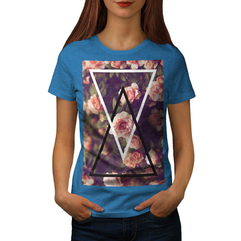 Romantic Rose Triangle Womens T-Shirt