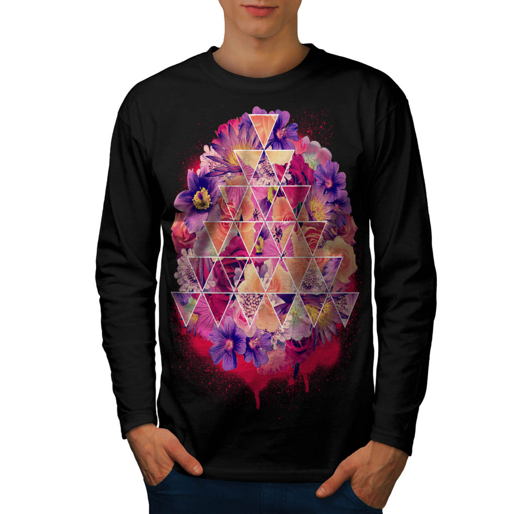 Triangle Shape Flower Mens Long Sleeve T-Shirt