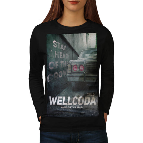 Vintage Car Poster Womens Long Sleeve T-Shirt