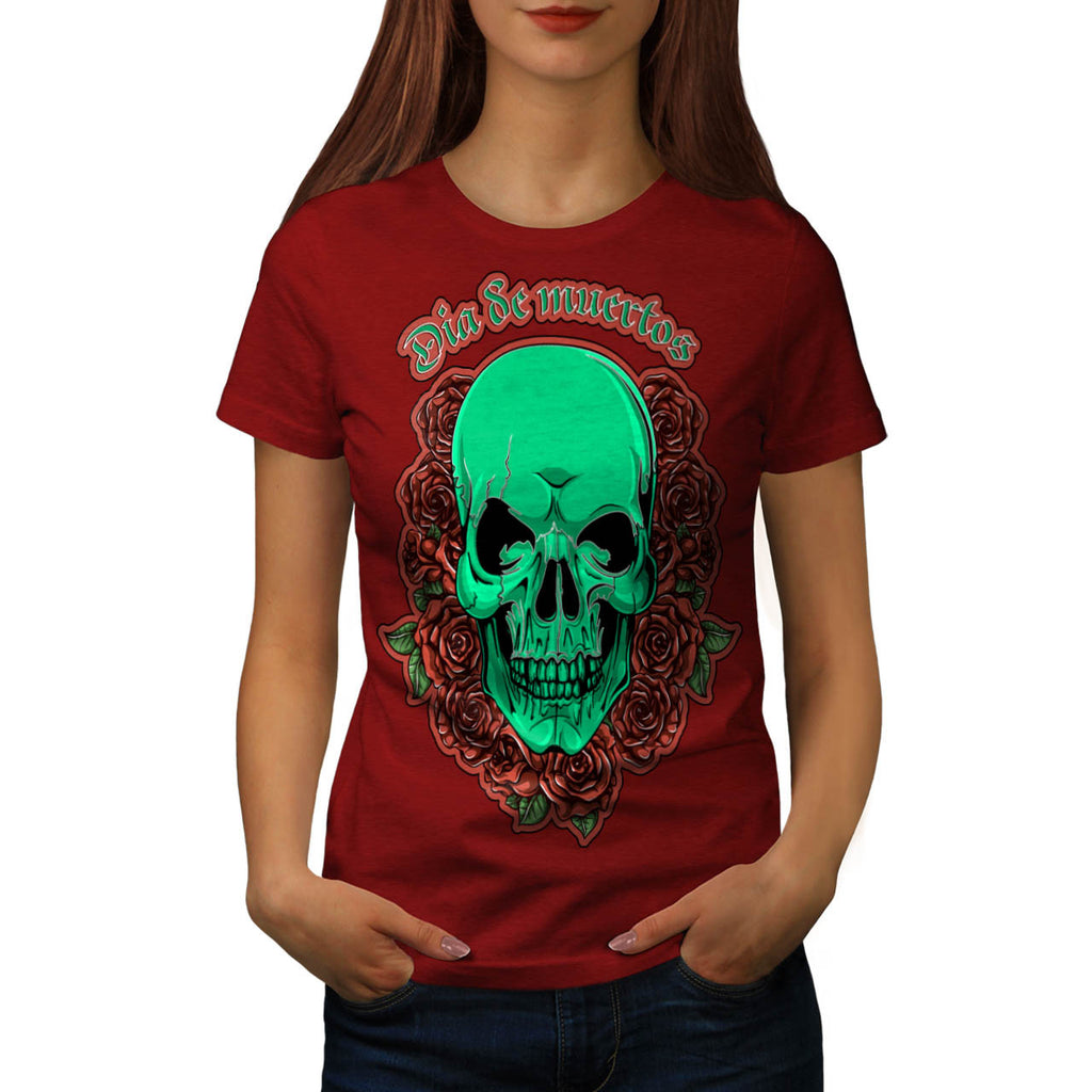 Skull Head Rose Art Womens T-Shirt