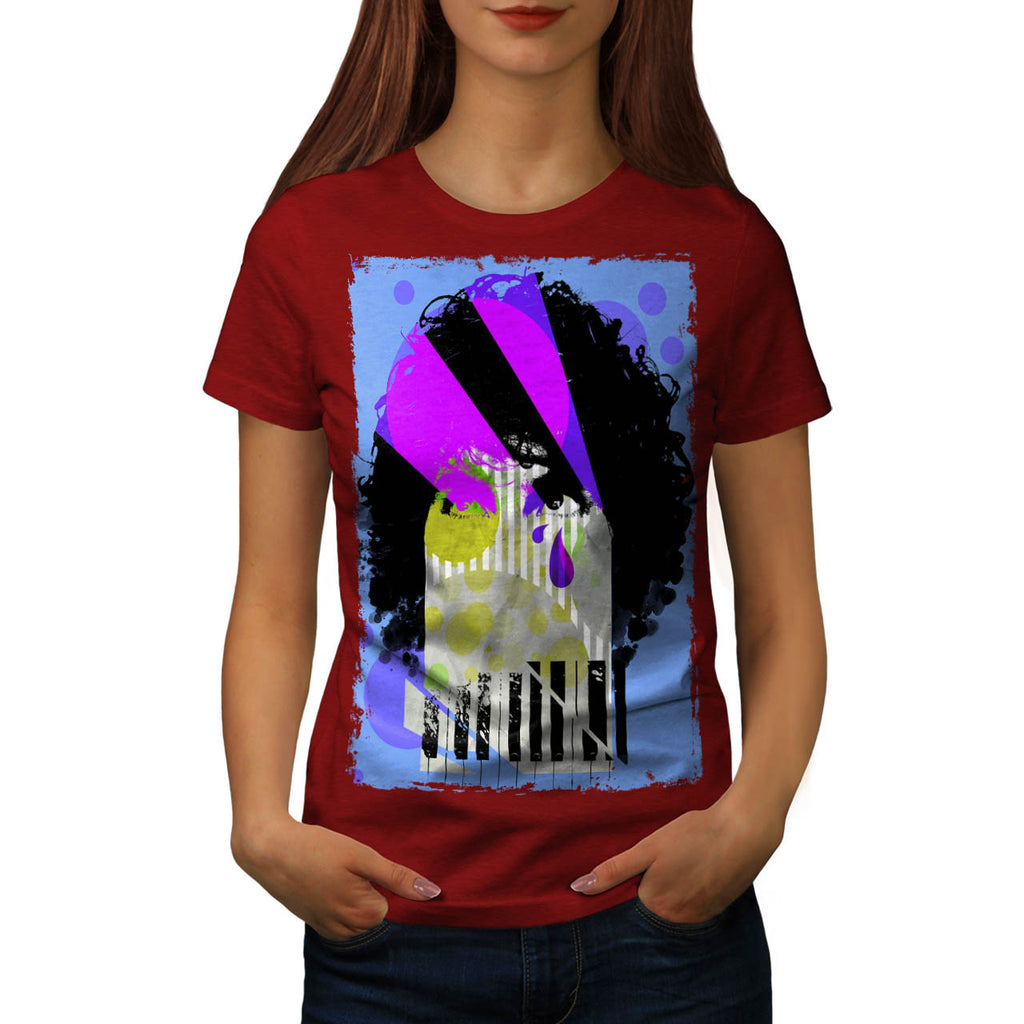 Piano Woman Face Womens T-Shirt