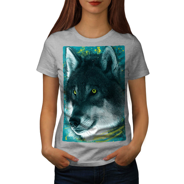 Cute Wild Wolf Head Womens T-Shirt
