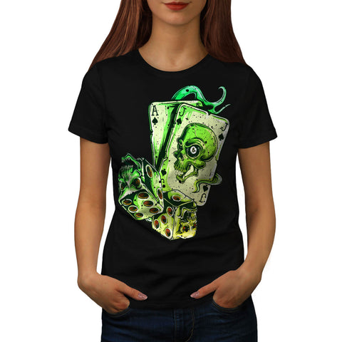Skull Card Gamer Womens T-Shirt