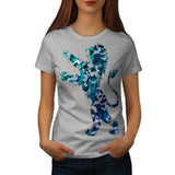 Blue Green Lionheart Womens T-Shirt