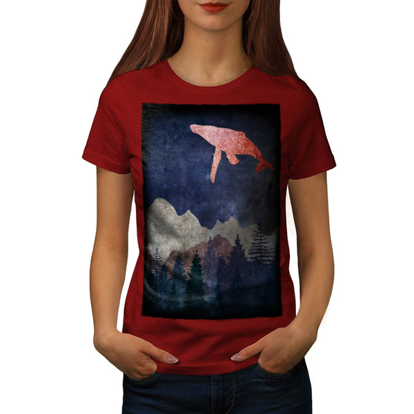 Fantasy Whale Fly Womens T-Shirt