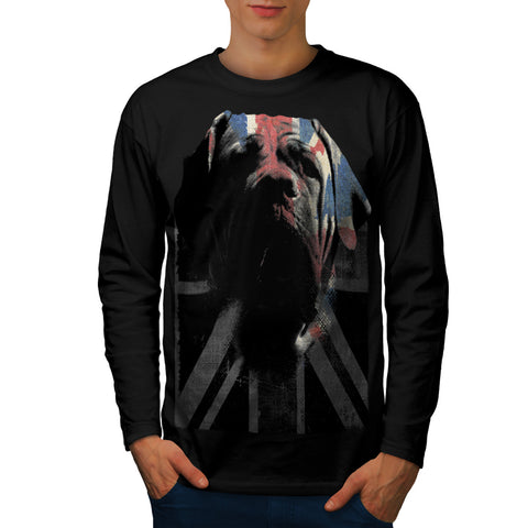 Bulldog Face Flag Mens Long Sleeve T-Shirt