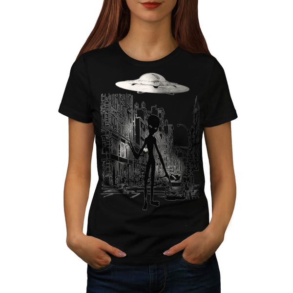 Alien Ghost Life Womens T-Shirt