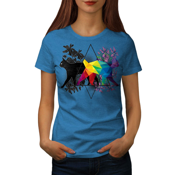 Cat Contrast Prism Womens T-Shirt