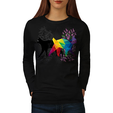 Cat Contrast Prism Womens Long Sleeve T-Shirt