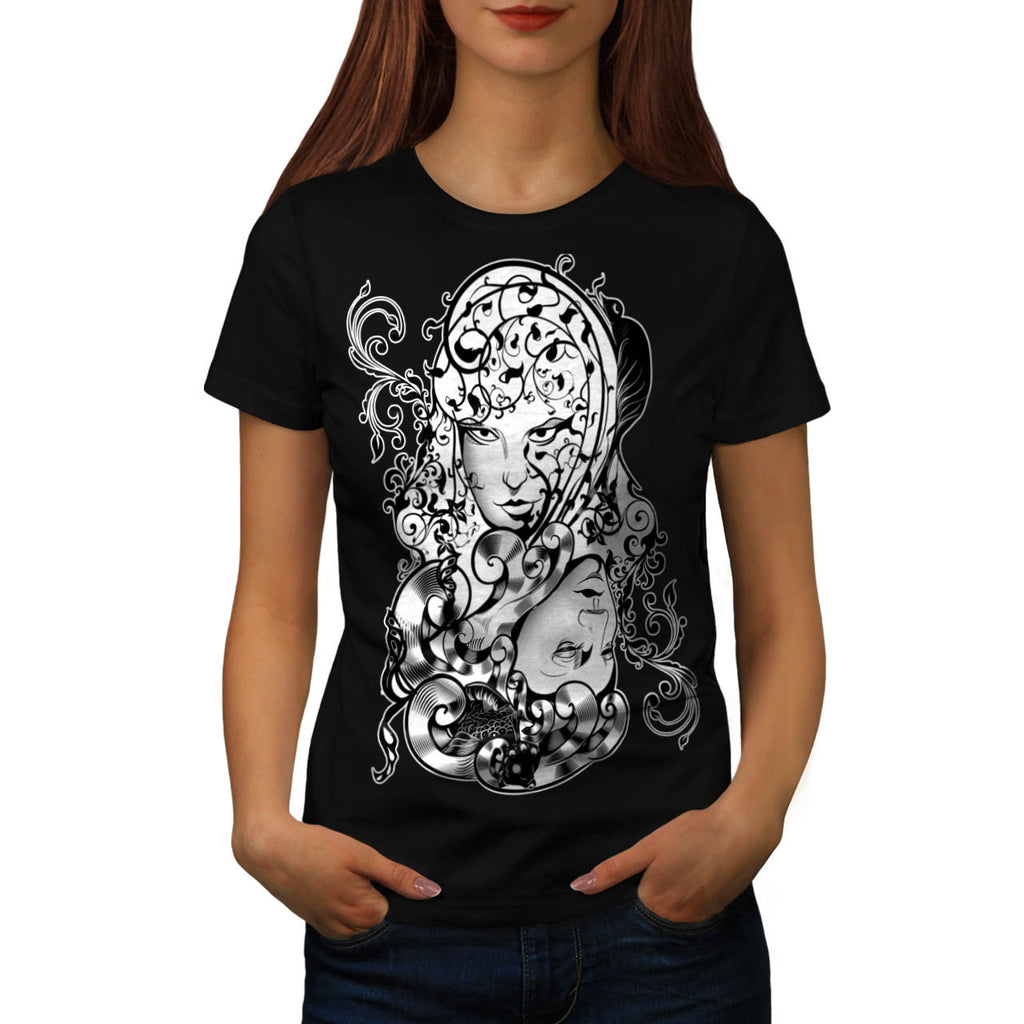 Flower Lady Beauty Womens T-Shirt