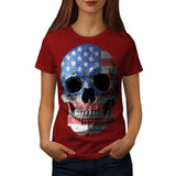 American Flag Skull Womens T-Shirt