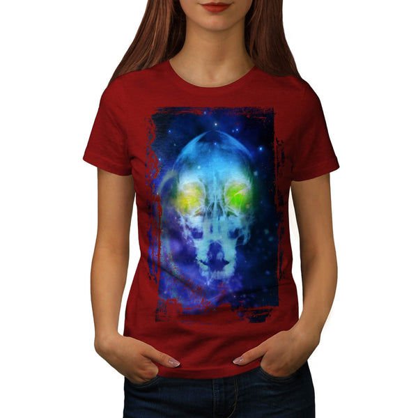 Space Alien Skull Womens T-Shirt