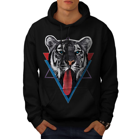 Tiger Tongue Lick Mens Hoodie