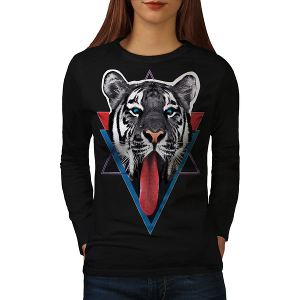 Tiger Tongue Lick Womens Long Sleeve T-Shirt