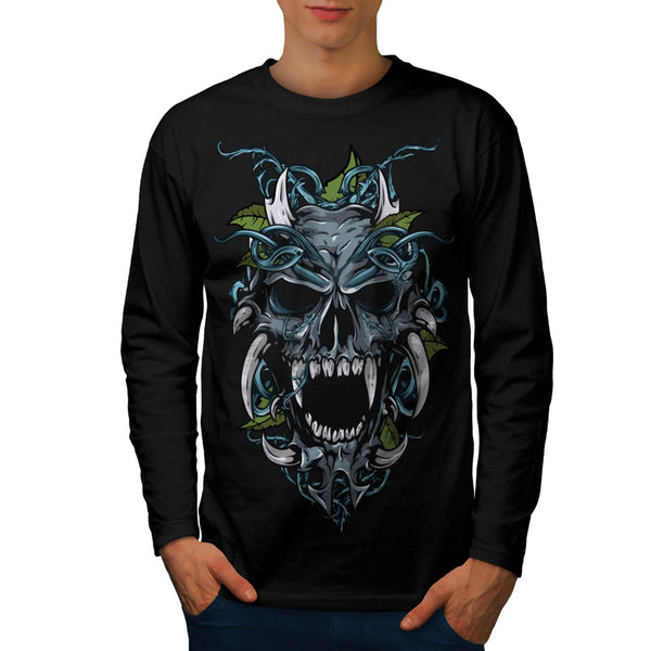 Evil Horror Skull Mens Long Sleeve T-Shirt