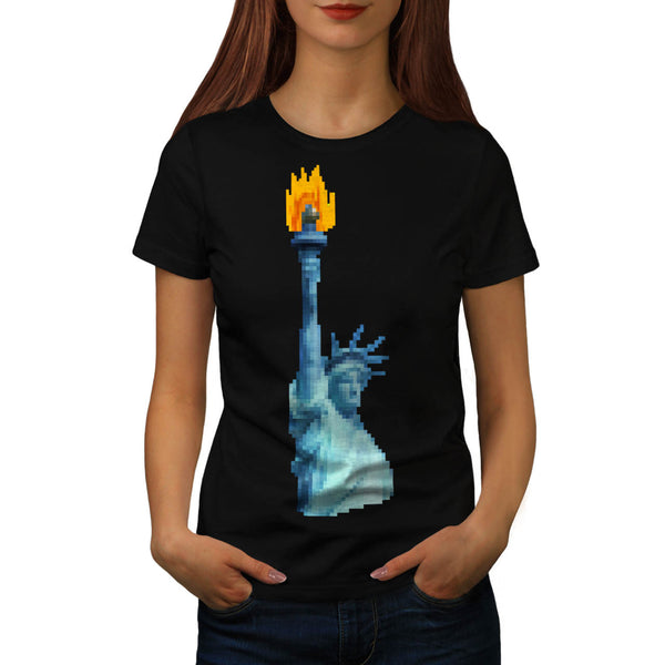 Pixel Liberty Statue Womens T-Shirt
