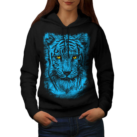 Blue Tiger Eye Stare Womens Hoodie