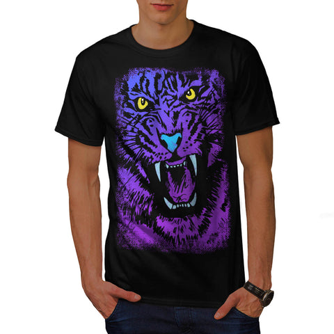 Purple Tiger Attack Mens T-Shirt