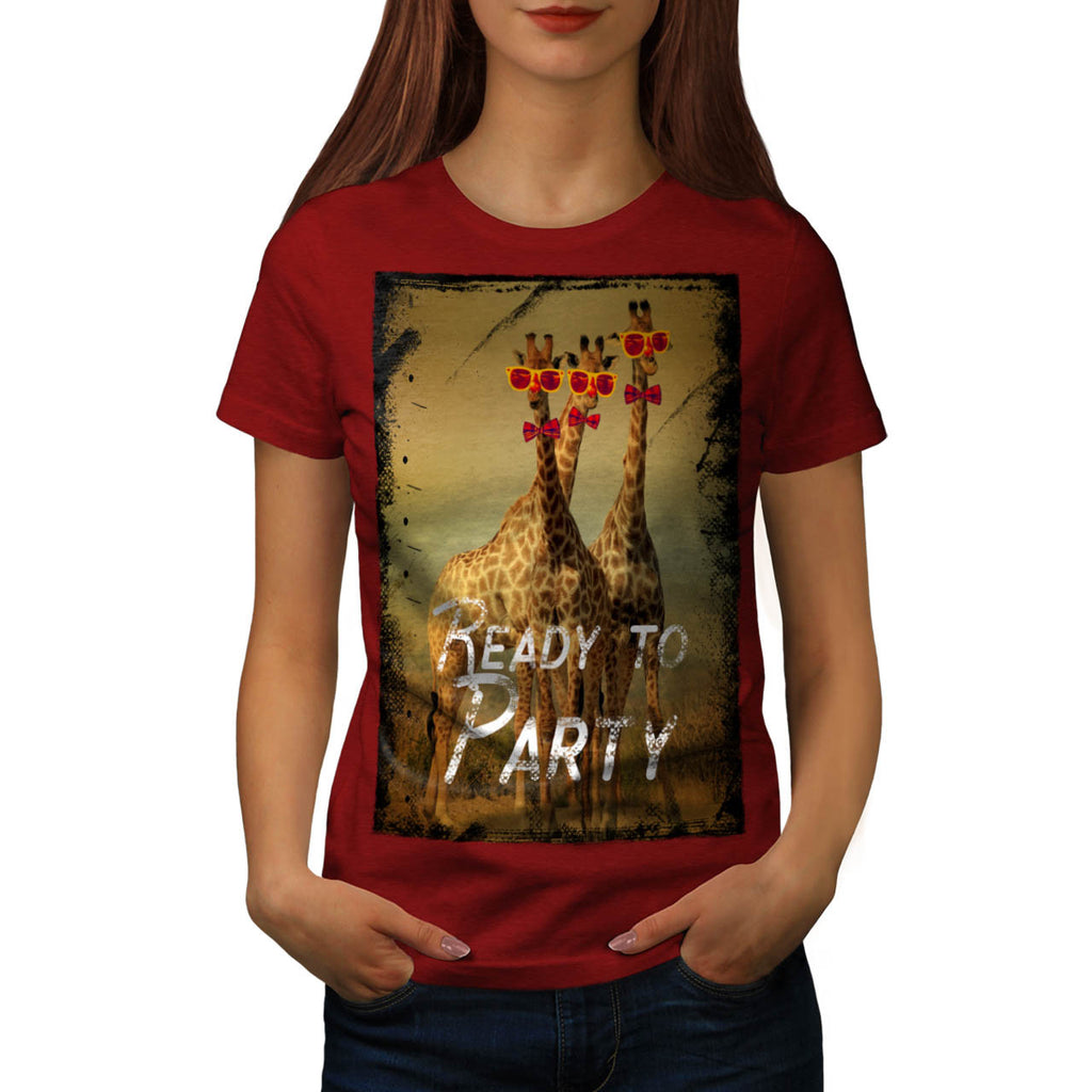 Giraffe Party Time Womens T-Shirt