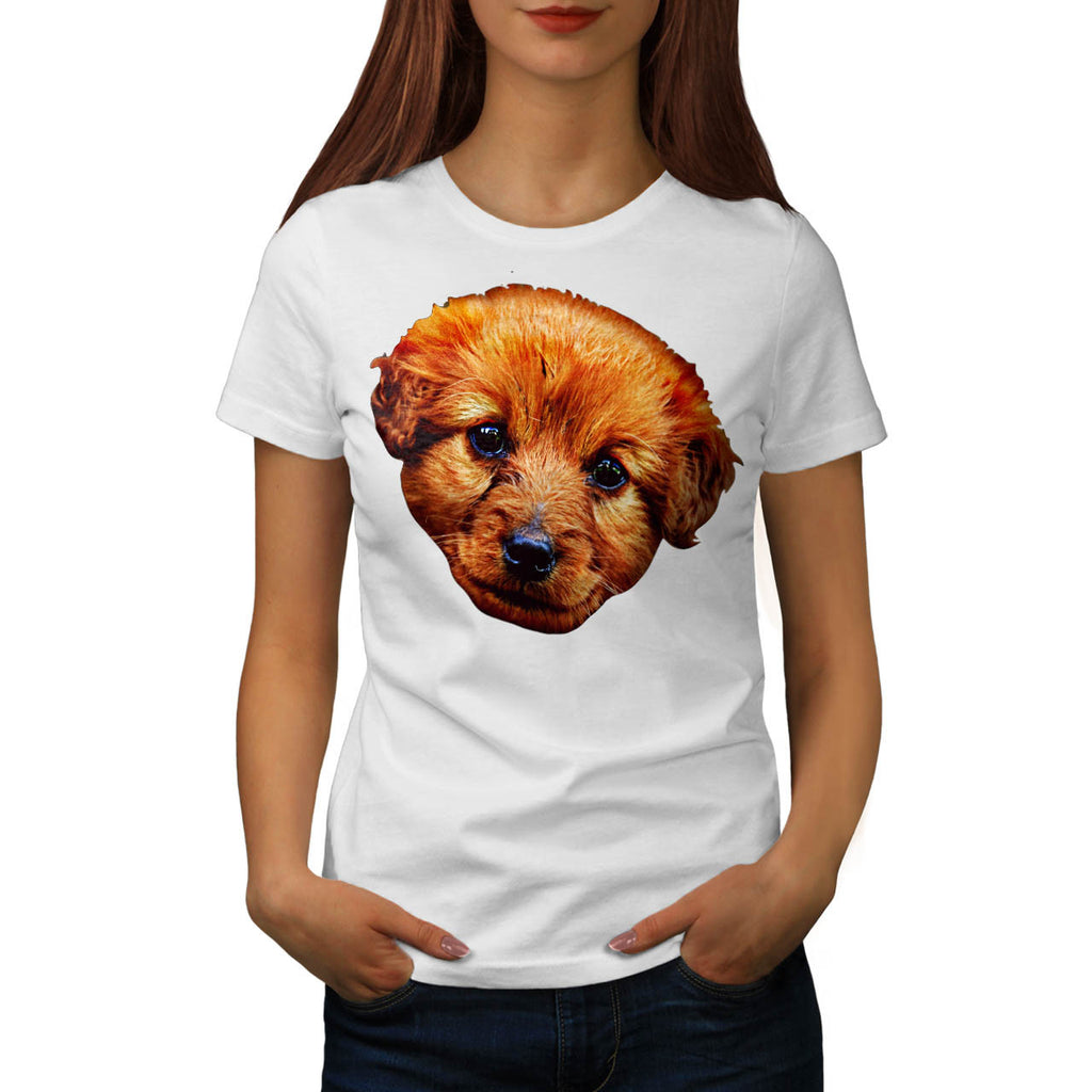 Brown Puppy Dog Head Womens T-Shirt