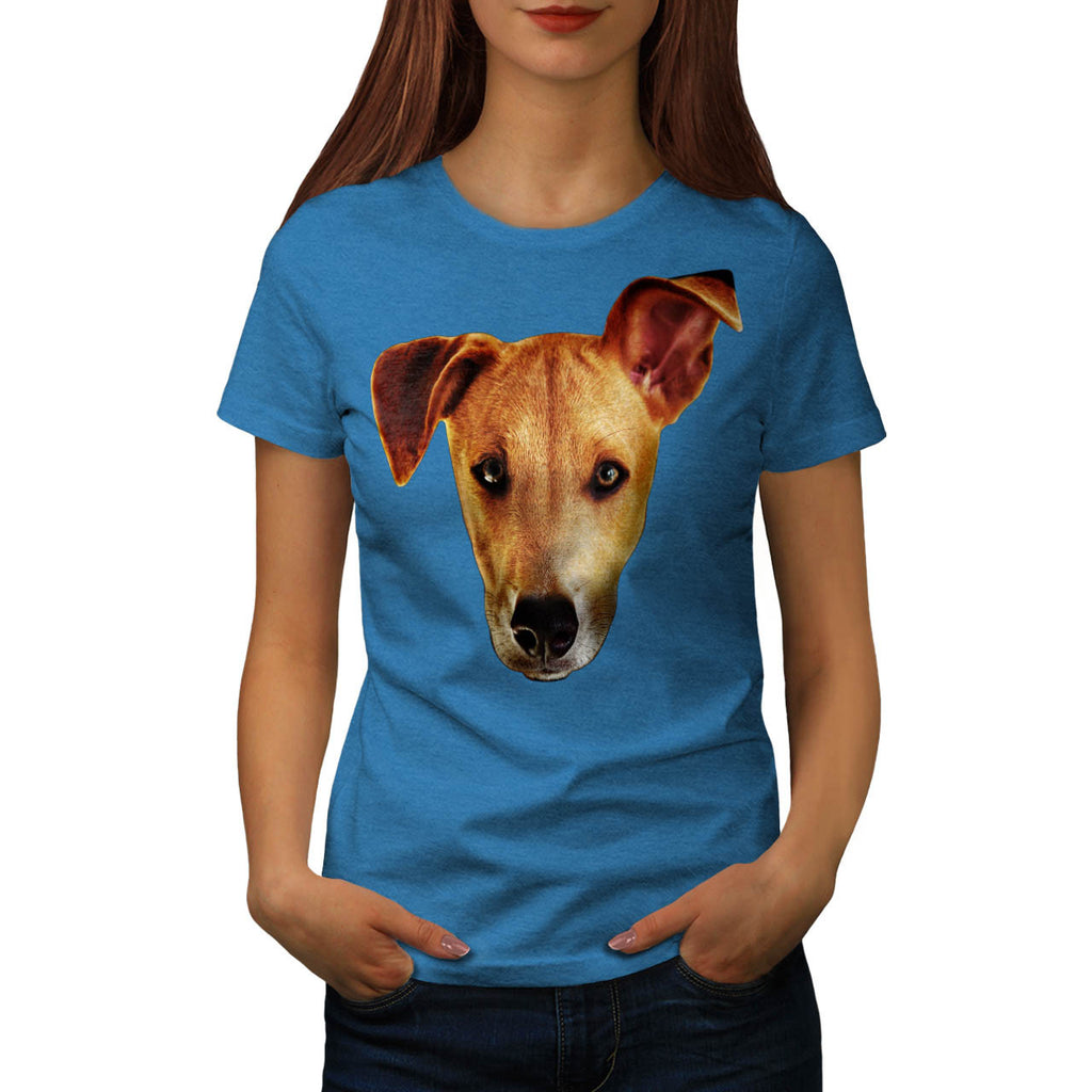 Doggy Head Ear Lift Womens T-Shirt