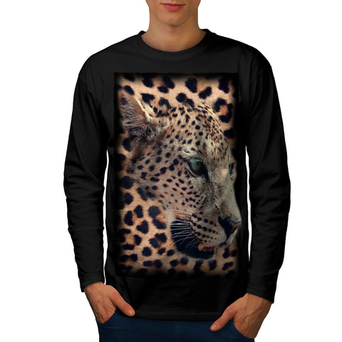 Cheetah Face Look Mens Long Sleeve T-Shirt