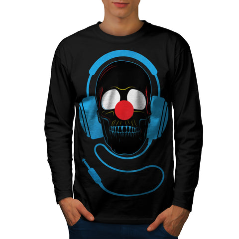 Headphone Skull Face Mens Long Sleeve T-Shirt