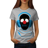 Headphone Skull Face Womens T-Shirt