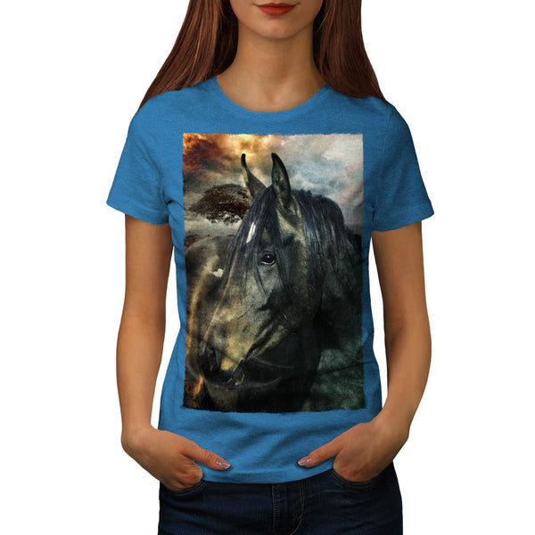 Wild Stallion Head Womens T-Shirt